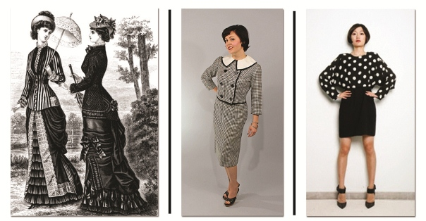 Images of women in black and white dresses