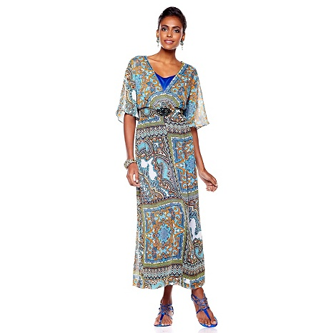 Bright and airy maxi dress belted for an accentuated waist