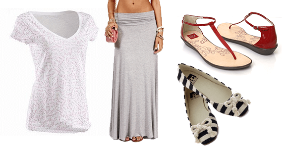 Basic tee + maxi dress + flats/sandals - Antthony Originals
