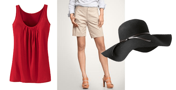 Bermuda shorts + tank/tee + big, floppy hat - Antthony Originals