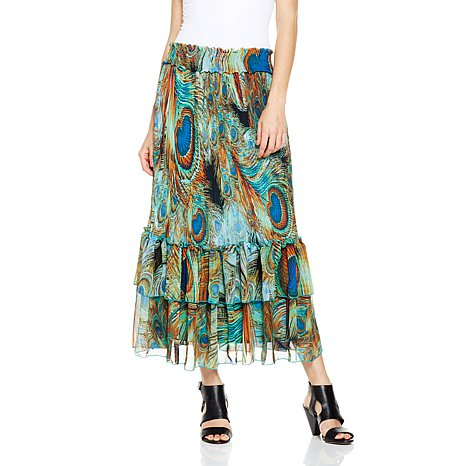 Antthony Connie Gail Chiffon Pleated Tiered Skirt
