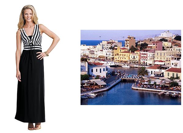 Gorgeous White and Black Dress Greece